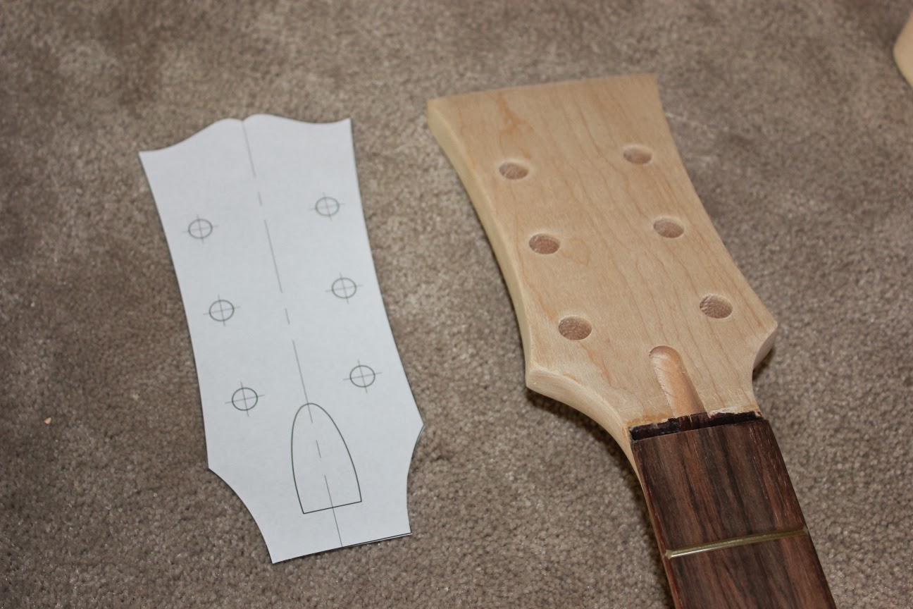 Guitar kit builder les paul jnr double cut shaping the for Gibson les paul headstock template