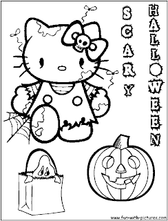 Hello Kitty Halloween coloring page
