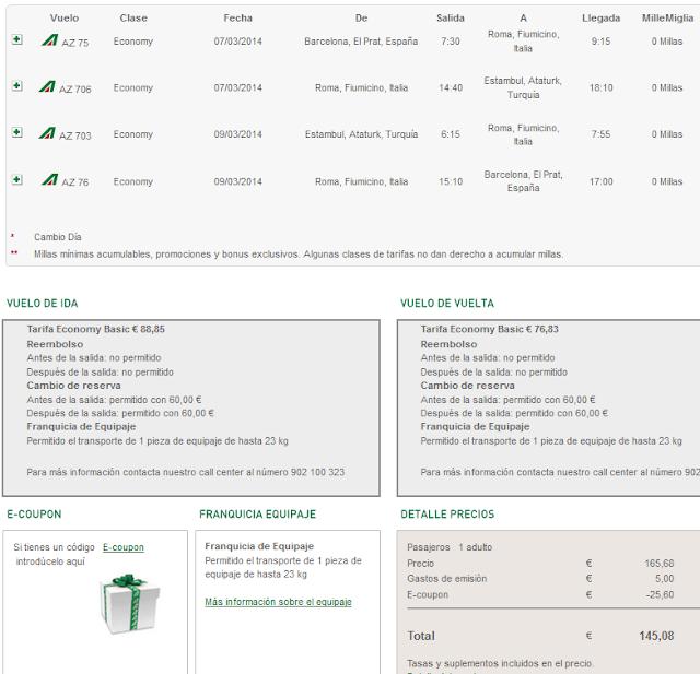 Alitalia Estambul codigo descuento promocional