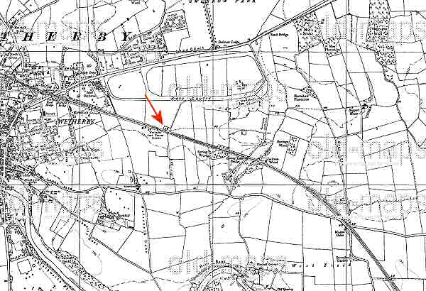 Old map of Wetherby showing location of the Racecourse Railway Station