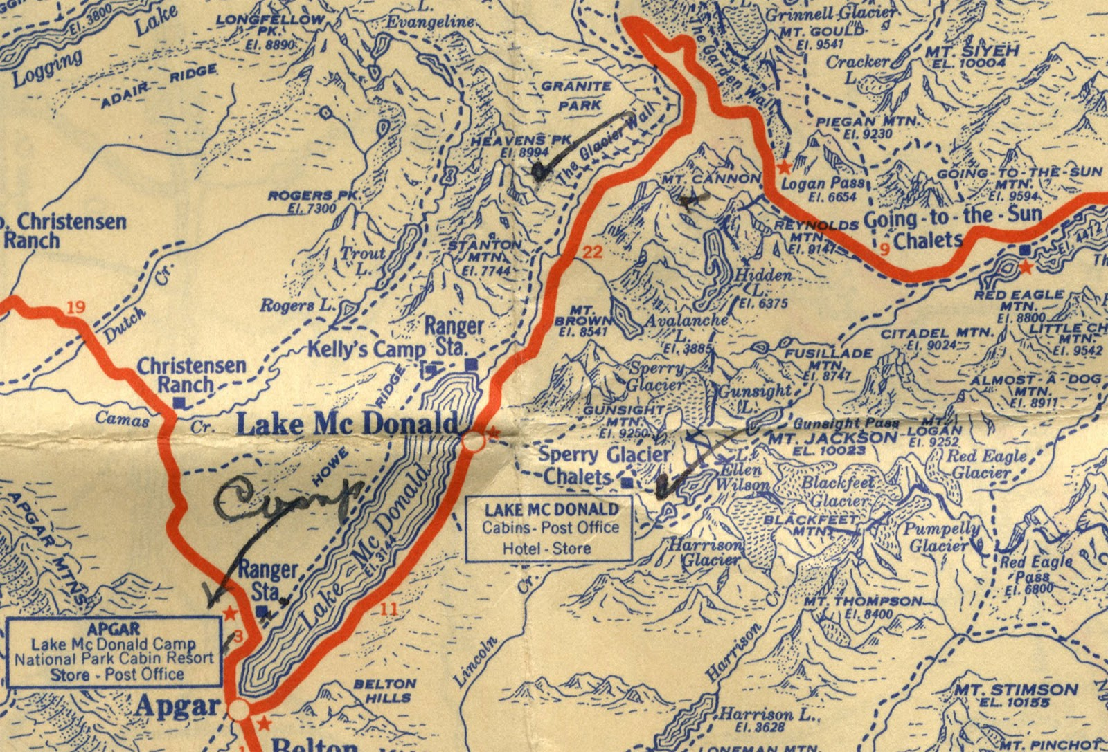 robert s map avalanche lake and mt cannon are shown