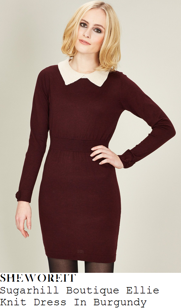 sam-faiers-burgundy-purple-white-collar-knit-dress-towie