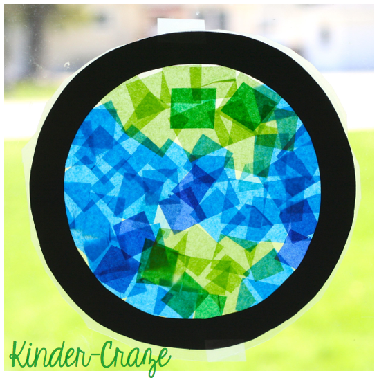 EARTH DAY stained glass window made from tissue paper and clear contact paper