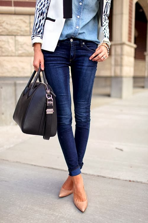 White jacket, jean shirt, jean pants and nude heels