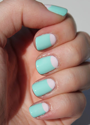 Essie Fiji and Mint Candy Apple Half Moon Mani