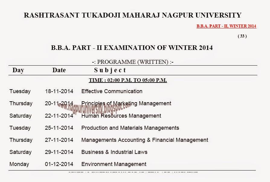 nagpur university Second Year B.B.A Exam Time Table Winter 2014 RTMNU