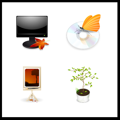 Autumn seasonal icons for windows