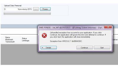 Kesulitan Upload Emis Desktop HRESULT0x800A03EC