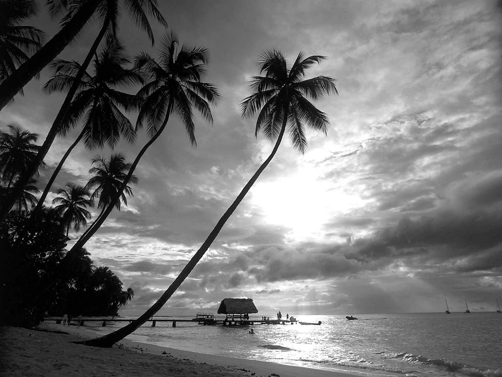 Beautiful Sunset Wallpapers Black White Photography Wallpaper Beach