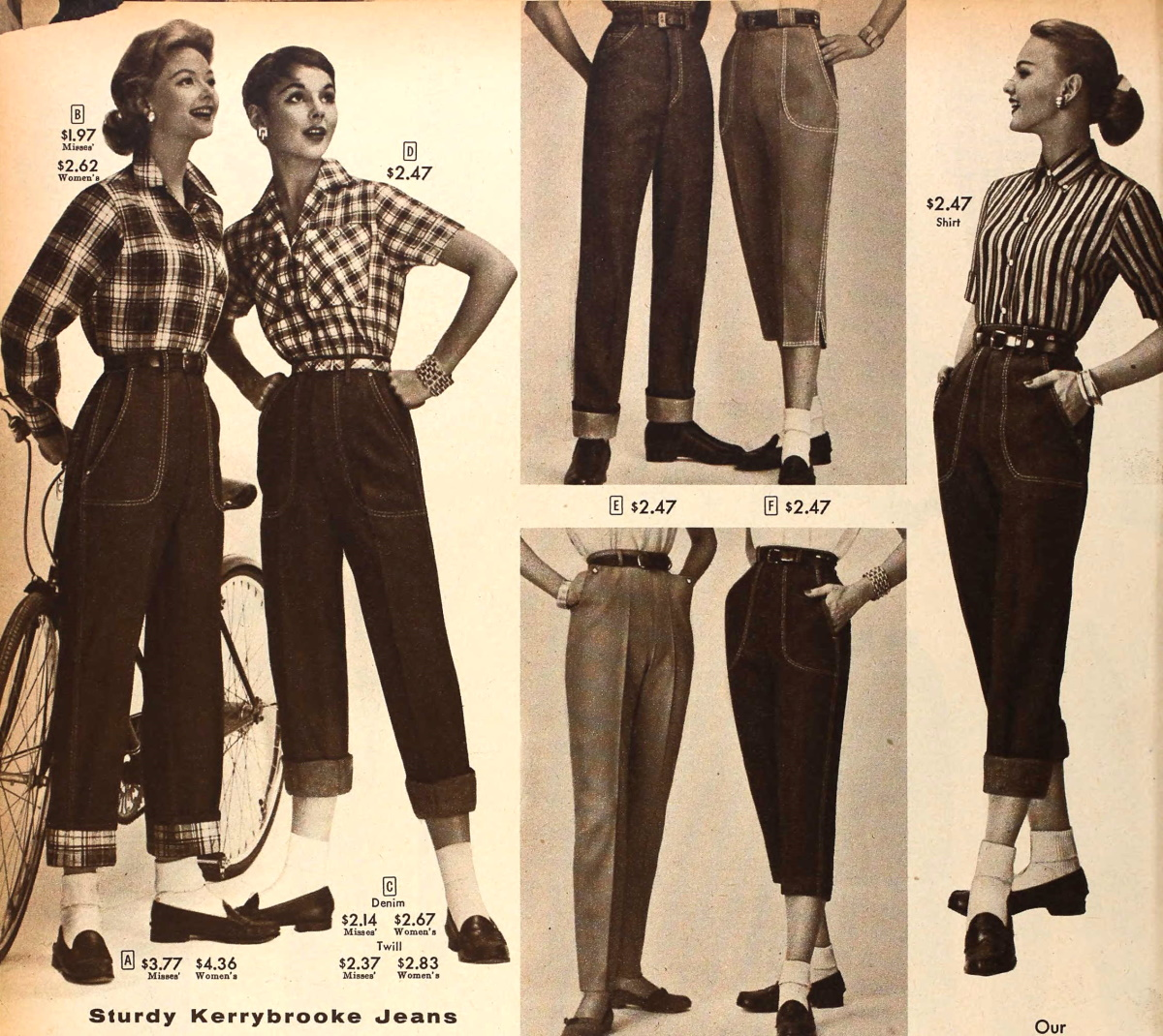 Beautiful 1950s Style Pants Capris Crop Jeans Cigarette Pants