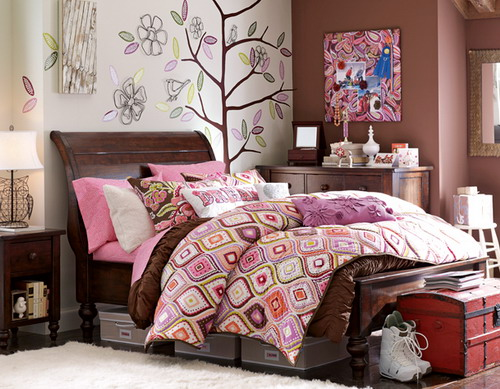 pink and brown bedroom. Interior Design Ideas. Home Design Ideas