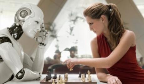 كيف سيكون شكل العالم بعد 100عام - امرأة تلعب شطرنج مع روبوت انسان الى - woman play chess with robot