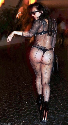 lady gaga shows off her ass while stepping out Transparent Bra