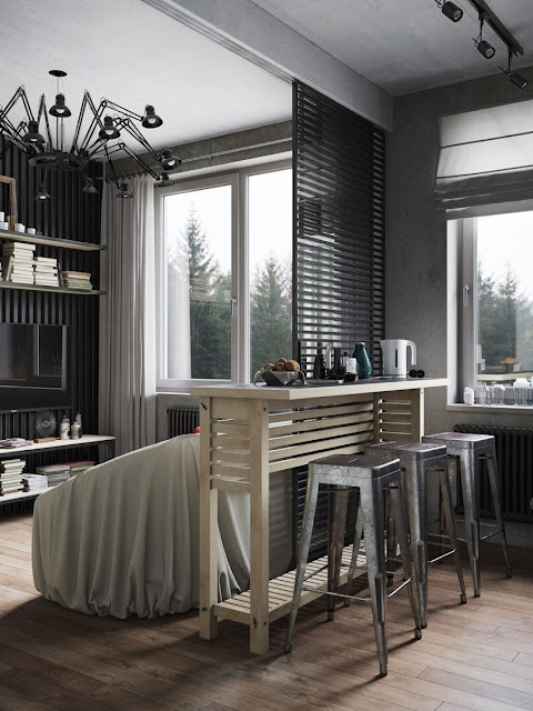 black and white living room and dinning design