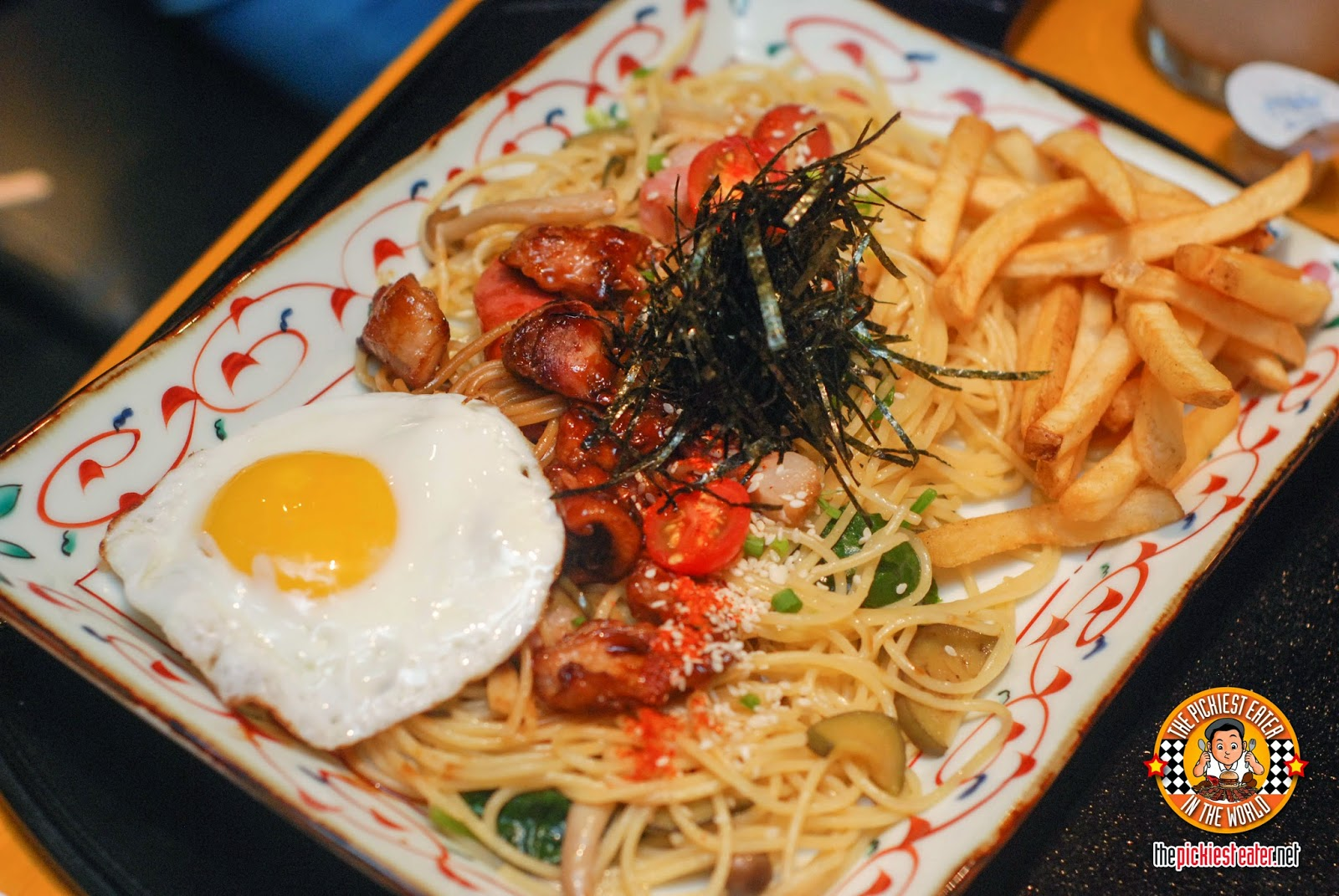 yakitori and soy butter spaghetti