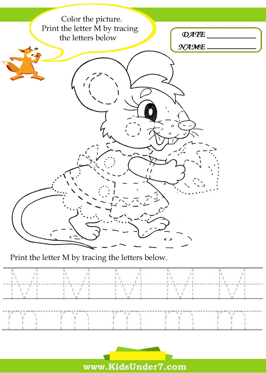 Worksheets Letter M Worksheets For Kindergarten kids under 7 alphabet worksheets trace and print letter m