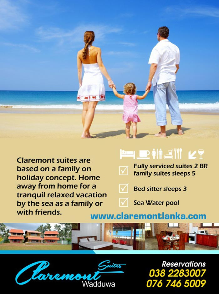 Claremont Suites situated in Wadduwa just 30 Kilometers from central Colombo heading South by the coast is abundant with Marine Life which is the main live hood of people in the surroundings. Enjoy the scenes of fishing and toddy taping relaxing in your suite or on the sit out sun bathing by the salt water pool