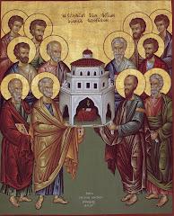 «Ἀπόστολοι Ἅγιοι, πρεσβεύσατε τῷ ἐλεήμονι Θεῷ , ἵνα πταισμάτων ἄφεσιν, παράσχῃ ταῖς ψυχαῖς ἡμῶν»