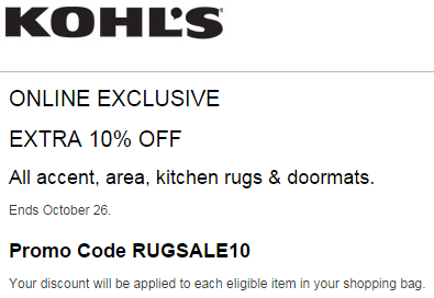 Kohl's Coupon - Discount 10% Off Accent, Area, Kitchen Rugs & Doormats