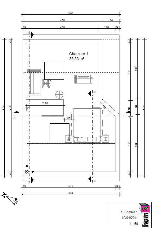 hom3 le conseil deco plans amenagement des combles. Black Bedroom Furniture Sets. Home Design Ideas
