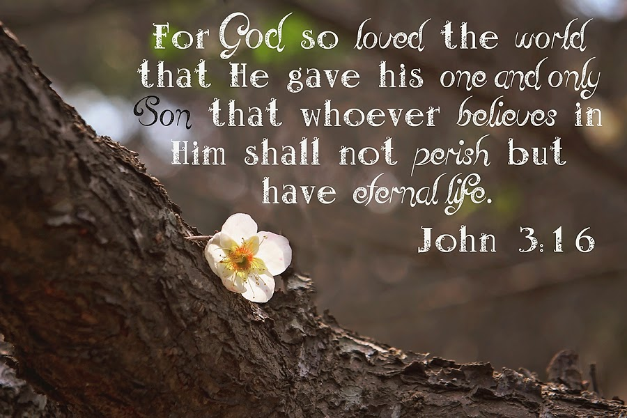 For God so loved the world that He gave his one and only Son that whoever believes in Him shall not perish but have eternal life.