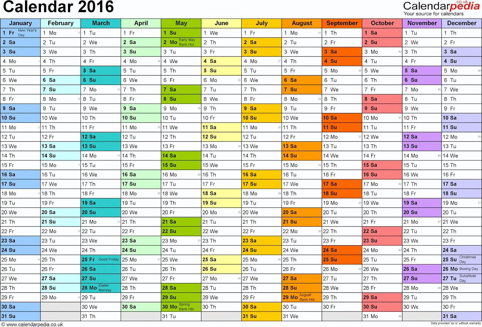 printable calendar 2016 with holidays 2016 calendar with holidays 2016 ...