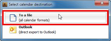select calendar destination - icloud to ICS