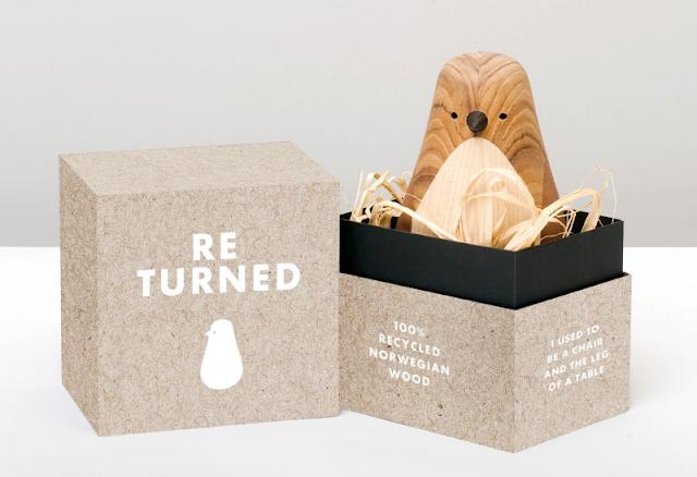 "Lars Beller pajaros de madera reciclada - ""Re-turned"" birds"
