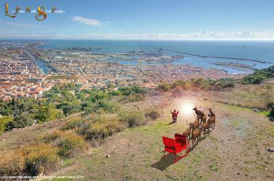A Sète, Le Père Noël et son traîneau en haut du mont saint clair