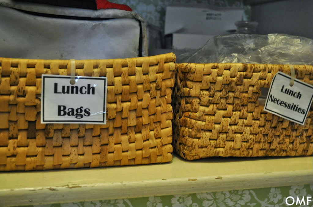 Organizing Hack: Baskets for lunch bags:: OrganizingMadeFun.com