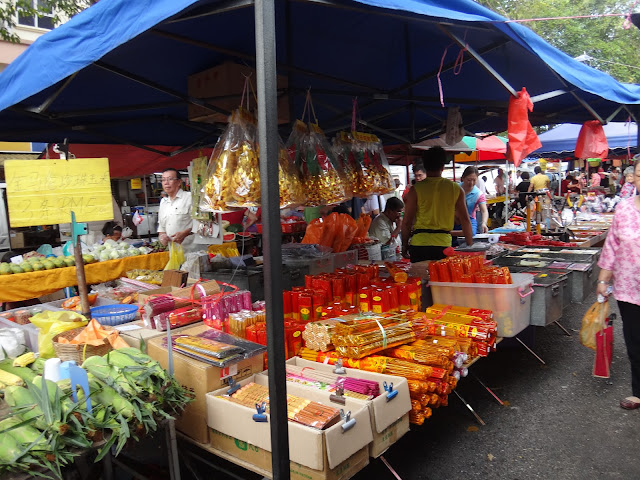 Different types of Chinese Incenses and joss sticks can be seen at the Morning Market in Taman Overseas Union, Kuala Lumpur, Malaysia. Chinese burn incenses and joss sticks while praying in the temple or visiting the ancestors and loved ones at tombs