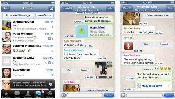 Contoh Aplikasi WhatsApp di iPhone