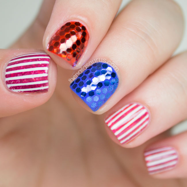 Patriotic Fourth of July Nails - The Nailasaurus