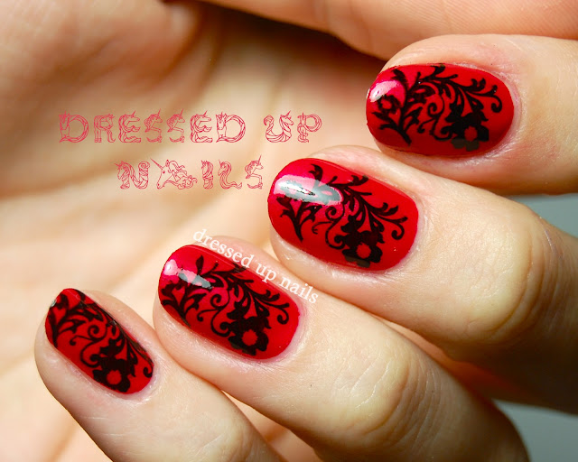 Dressed Up Nails - China Glaze Snap My Dragon with floral stamping nail art