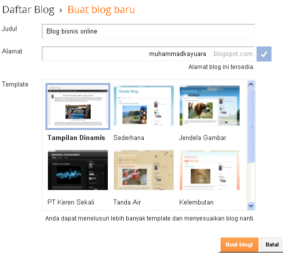 cara membuat blog blogspot