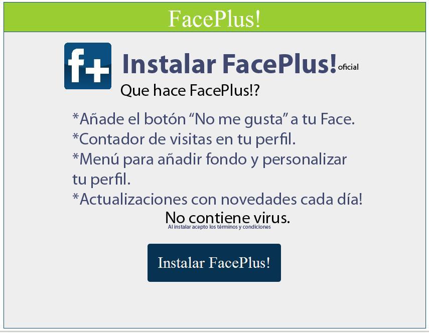 FacePlus! Aplicación que engaña a usuarios de facebook 1f