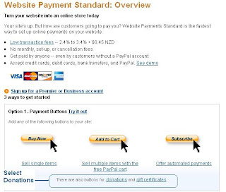 Select Donations link in Paypal from Paypal Website Payments Standard Options 1 to add a donations button to Blogger Blogspot blog