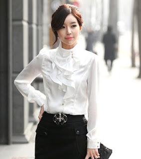 modelo de blusa social com babado 01