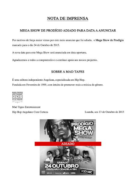 MEGA SHOW DE PRODÍGIO ADIADO PARA DATA A ANUNCIAR