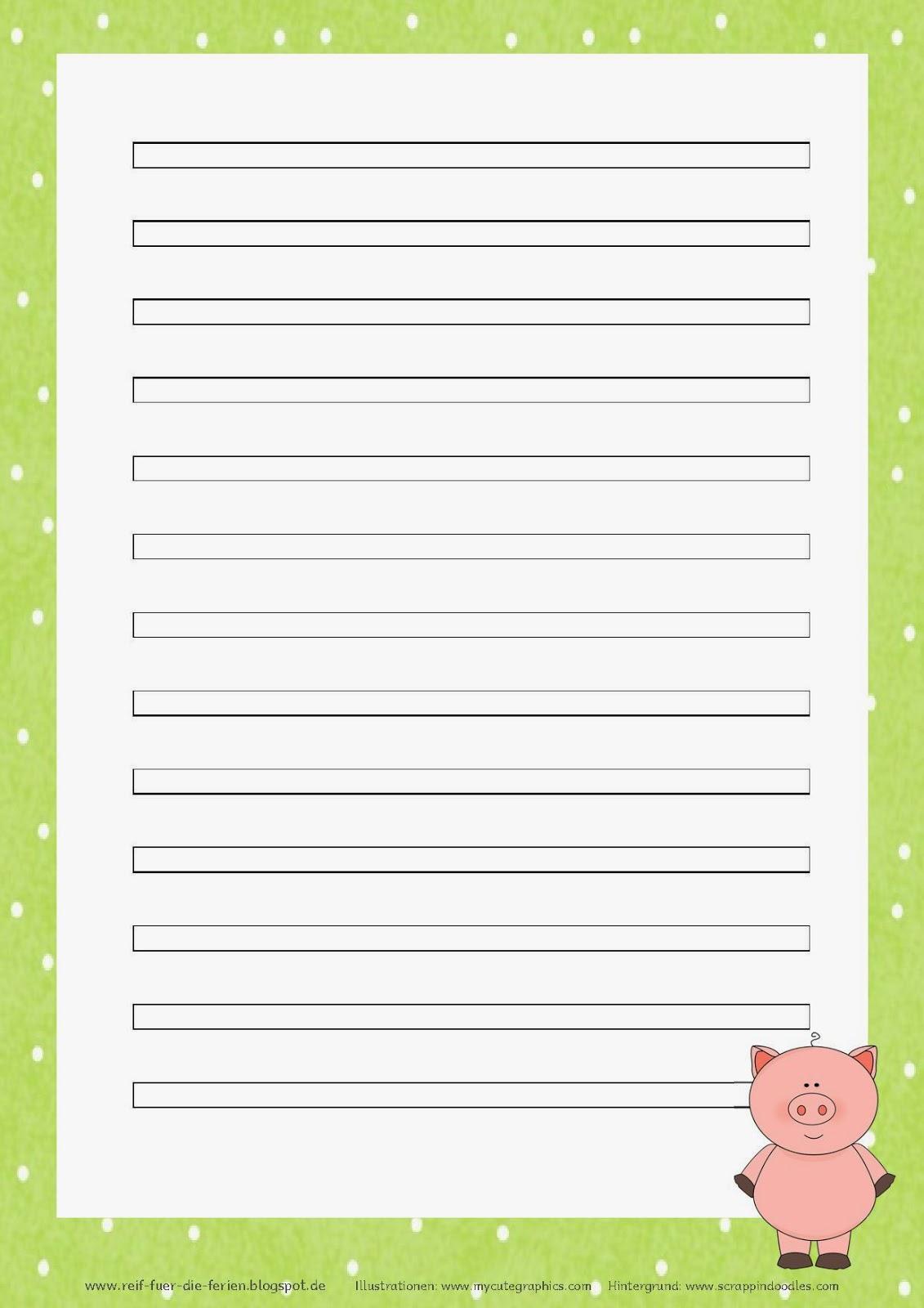 Abschreibblätter Klasse 3 - Schweinchen-Kartei