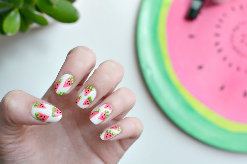 Nails watermelon nail art burkatron nails watermelon nail art prinsesfo Gallery