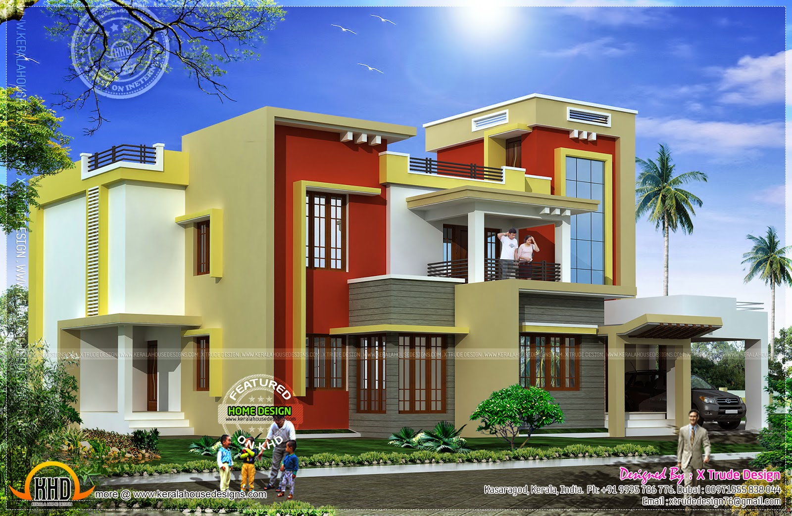 Box type home in 2862 square feet kerala home design and for Type of floors in houses
