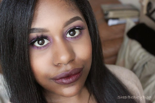 Berry lips and Purple makeup look