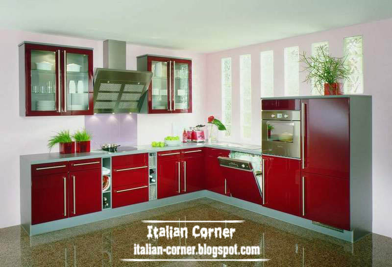 Modern Italian Kitchen Cabinets Designs Colors 2013