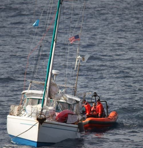 USCG rescues sailboat with broken rudder