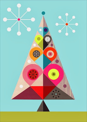 a modern christmas tree illustration  byEllen Giggebach