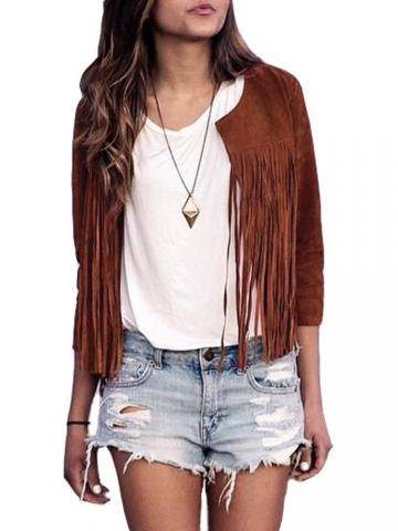 Casual Long Sleeve Tassels Fringed Faux Suede Leather Jacket