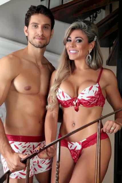 Fabiana Teixeira e Elieser Ambrósio participaram juntos de um ensaio para a marca Delirios Lingerie