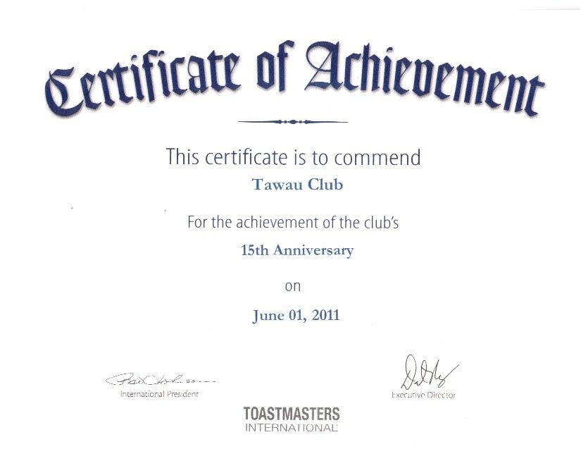 Tawau toastmasters club 15th anniversary tawau for Toastmasters certificate of appreciation template