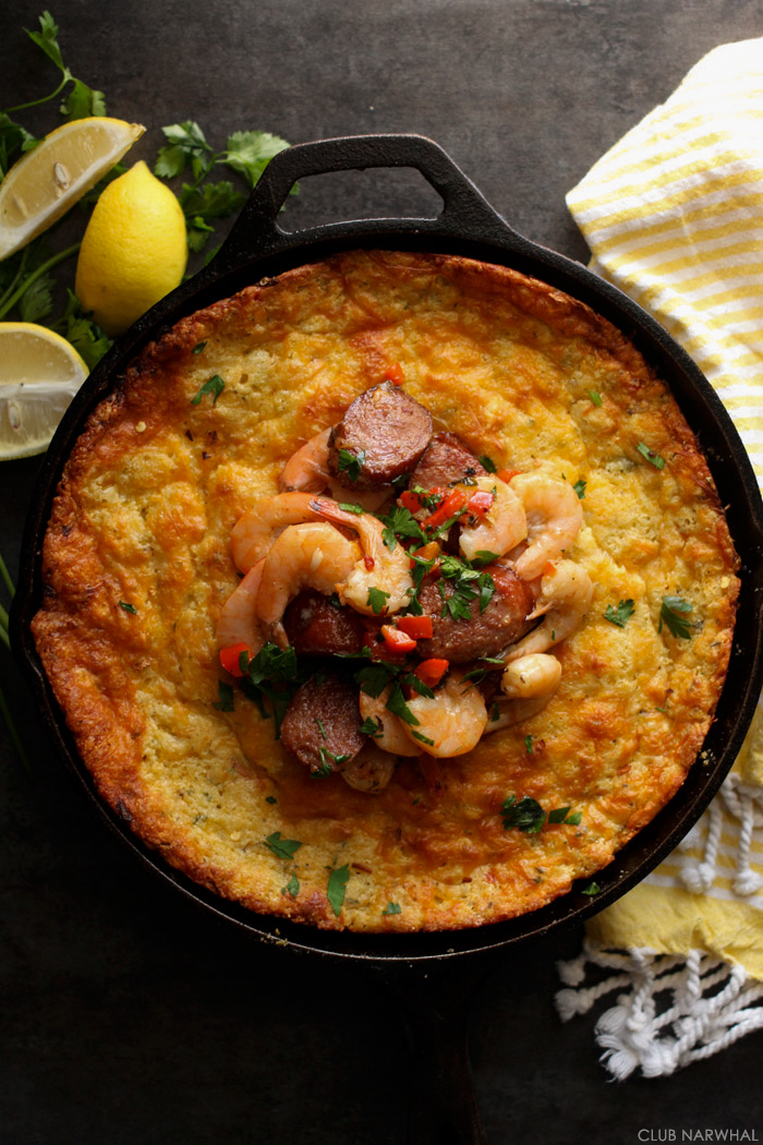 Shrimp and Spoonbread Grits